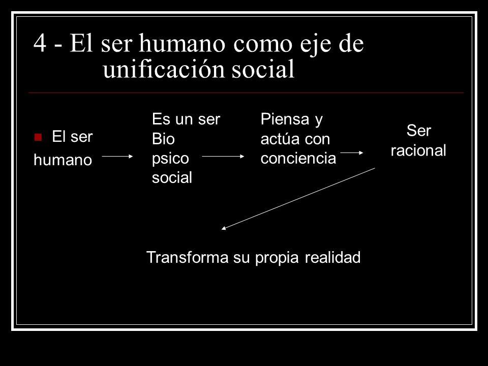 - 4 - El ser humano como eje de unificación social El ser humano Es un ser Bio psico social Piensa y actúa con conciencia Ser racional Transforma su propia realidad