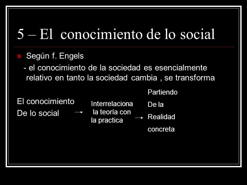 5 – El conocimiento de lo social Según f.