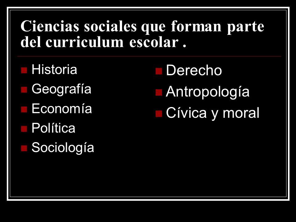 Ciencias sociales que forman parte del curriculum escolar.