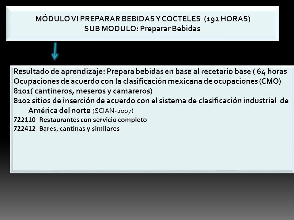 MÓDULO VI PREPARAR BEBIDAS Y COCTELES (192 HORAS) SUB MODULO: Preparar Bebidas MÓDULO VI PREPARAR BEBIDAS Y COCTELES (192 HORAS) SUB MODULO: Preparar