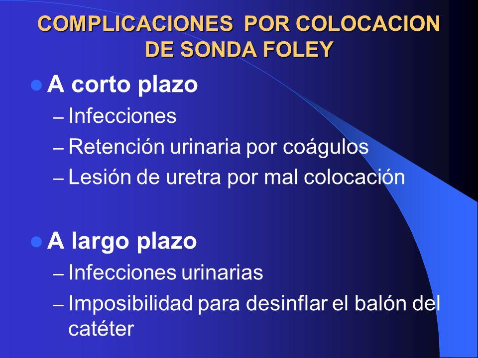 COMPLICACIONES POR COLOCACION DE SONDA FOLEY A corto plazo – Infecciones – Retención urinaria por coágulos – Lesión de uretra por mal colocación A largo plazo – Infecciones urinarias – Imposibilidad para desinflar el balón del catéter