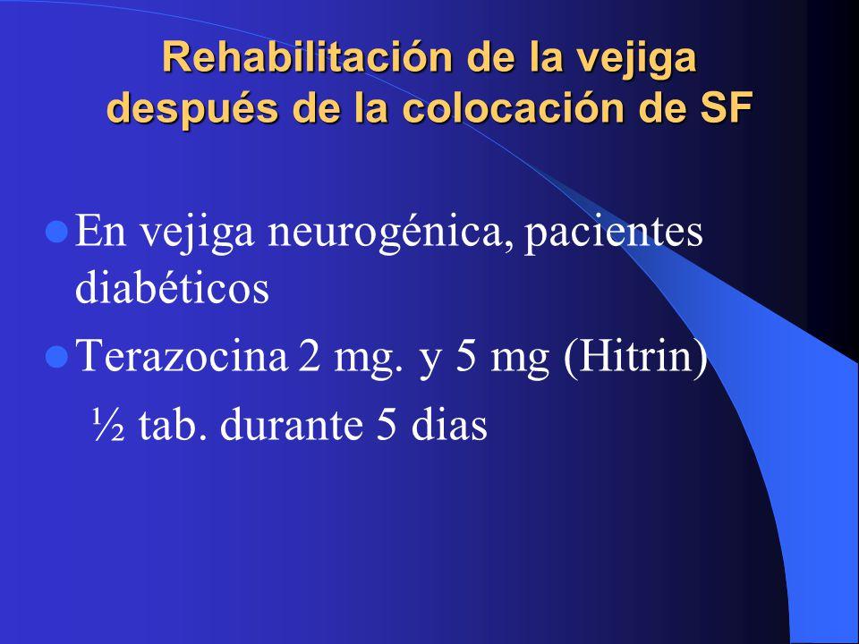 Rehabilitación de la vejiga después de la colocación de SF En vejiga neurogénica, pacientes diabéticos Terazocina 2 mg.