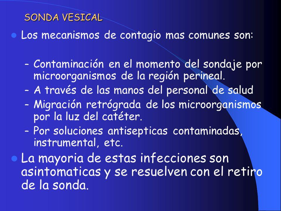 INDICACIONES DEL SONDAJE VESICAL 1.Retención urinaria: 1.Causa Neurológica 2.Causa Urológica 2.Necesidad de control de diuresis Estricta 1.Inestabilidad hemodinámica 2.Trastornos de conciencia 3.Cirugías prolongadas (>3horas) 4.Cirugías con gran perdida sanguínea 3.Hematuria Macroscópica 4.Cirugía Pélvica