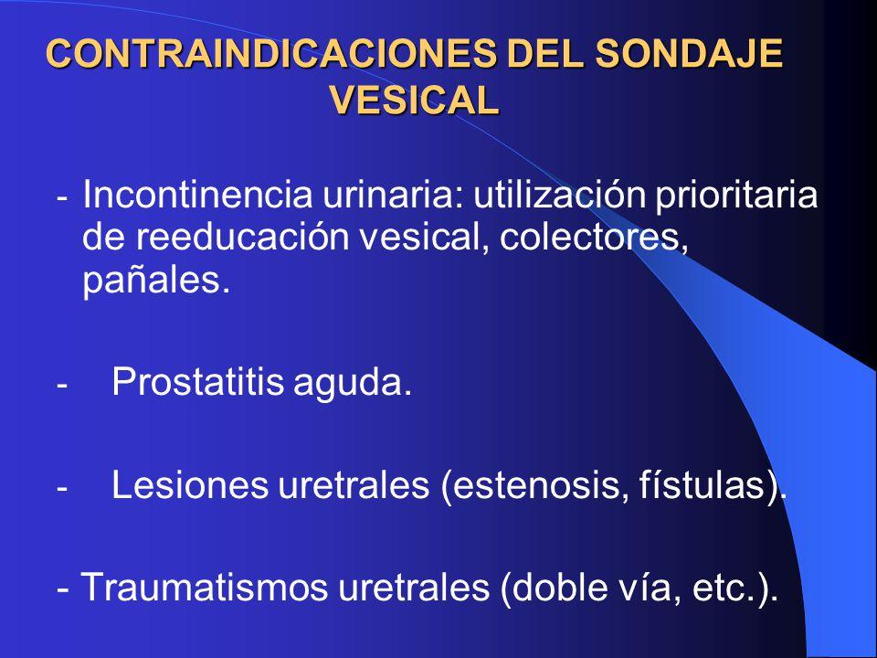 CONTRAINDICACIONES DEL SONDAJE VESICAL - Incontinencia urinaria: utilización prioritaria de reeducación vesical, colectores, pañales.