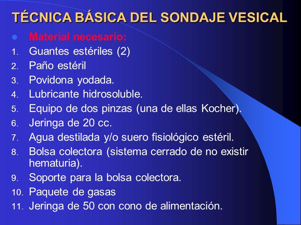 TÉCNICA BÁSICA DEL SONDAJE VESICAL Material necesario: 1.
