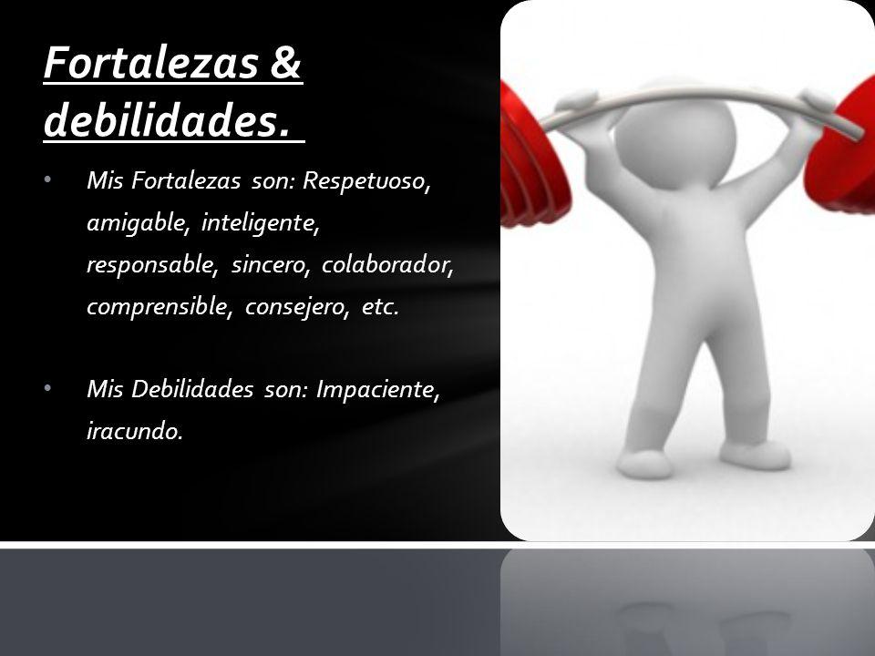 Mis Fortalezas son: Respetuoso, amigable, inteligente, responsable, sincero, colaborador, comprensible, consejero, etc.