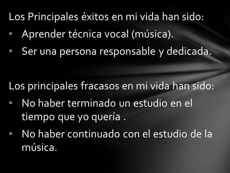 Los Principales éxitos en mi vida han sido: Aprender técnica vocal (música).