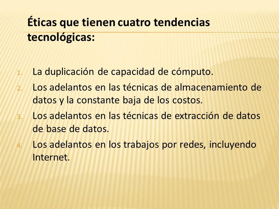Éticas que tienen cuatro tendencias tecnológicas: 1.