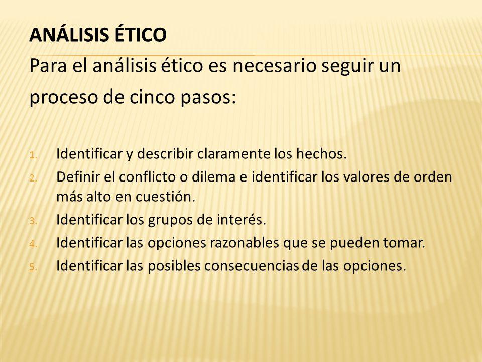 ANÁLISIS ÉTICO Para el análisis ético es necesario seguir un proceso de cinco pasos: 1.