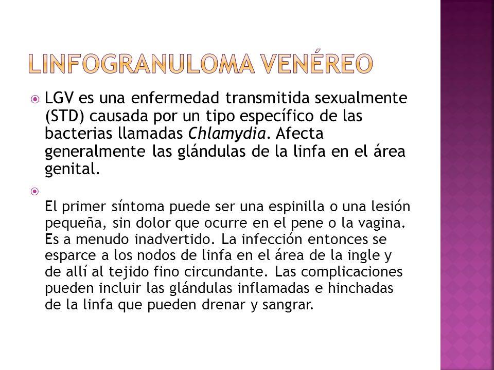  LGV es una enfermedad transmitida sexualmente (STD) causada por un tipo específico de las bacterias llamadas Chlamydia. Afecta generalmente las glán