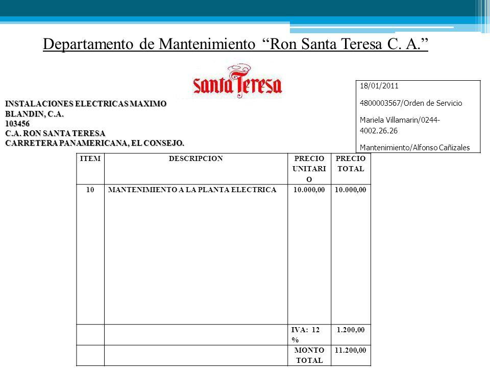 Departamento de Mantenimiento Ron Santa Teresa C.