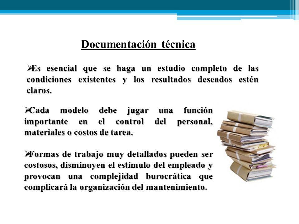 Documentación técnica  Cada modelo debe jugar una función importante en el control del personal, materiales o costos de tarea.