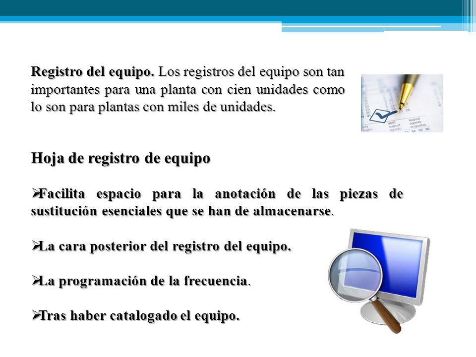 Hoja de registro de equipo  Facilita espacio para la anotación de las piezas de sustitución esenciales que se han de almacenarse.