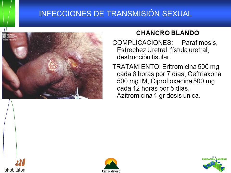 INFECCIONES DE TRANSMISIÓN SEXUAL CHANCRO BLANDO COMPLICACIONES: Parafimosis, Estrechez Uretral, fístula uretral, destrucción tisular.