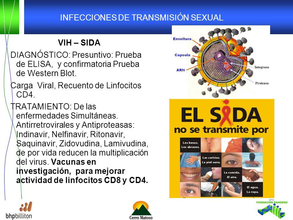 INFECCIONES DE TRANSMISIÓN SEXUAL VIH – SIDA DIAGNÓSTICO: Presuntivo: Prueba de ELISA, y confirmatoria Prueba de Western Blot.