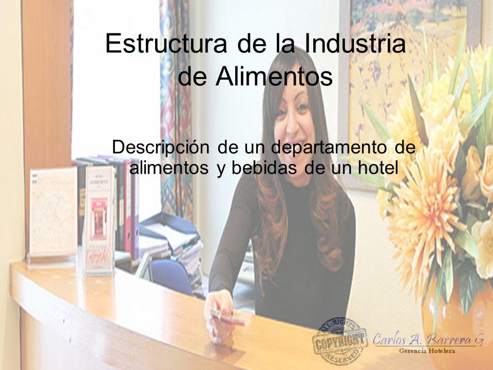 Estructura de la Industria de Alimentos Descripción de un departamento de alimentos y bebidas de un hotel