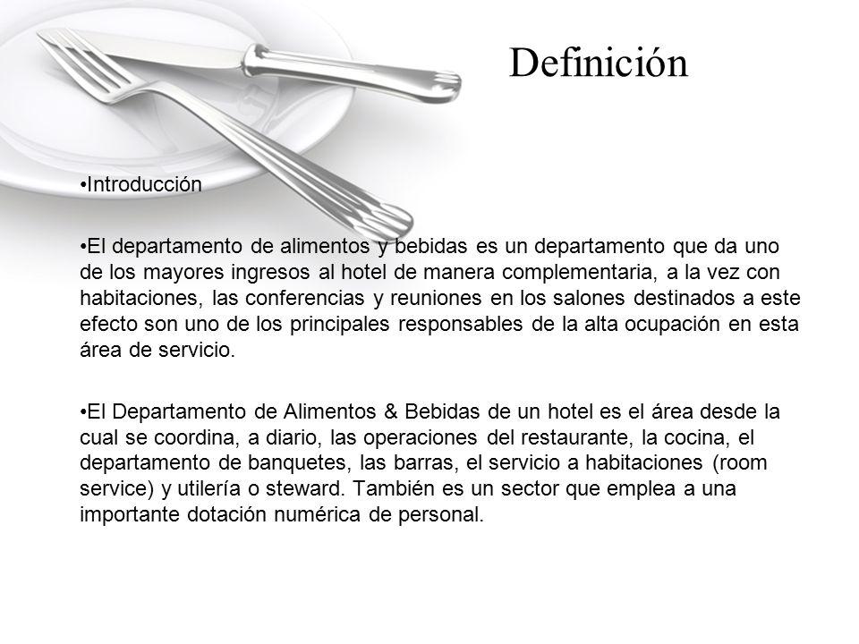 Definición ORGANIZACIÓN DE ALIMENTACIÓN Y BEBIDAS FUNCIONES DEL GERENTE DE ALIMENTOS Y BEBIDAS Es el responsable ante el Gerente General de la adecuada administración del área de Alimentos y Bebidas.