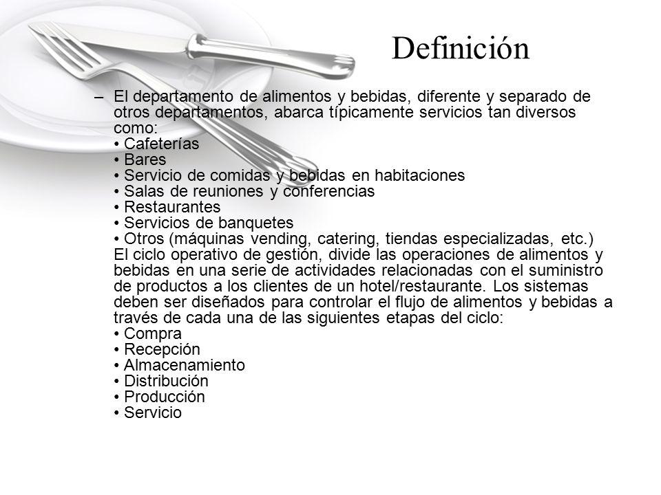 Definición –El departamento de alimentos y bebidas, diferente y separado de otros departamentos, abarca típicamente servicios tan diversos como: Cafet