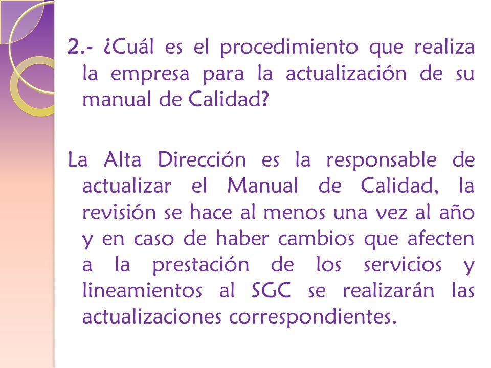 2.- ¿Cuál es el procedimiento que realiza la empresa para la actualización de su manual de Calidad.