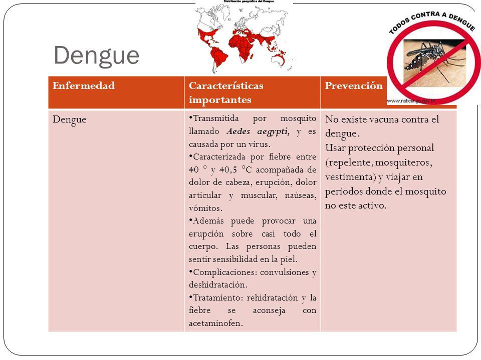 Dengue EnfermedadCaracterísticas importantes Prevención Dengue Transmitida por mosquito llamado Aedes aegypti, y es causada por un virus.