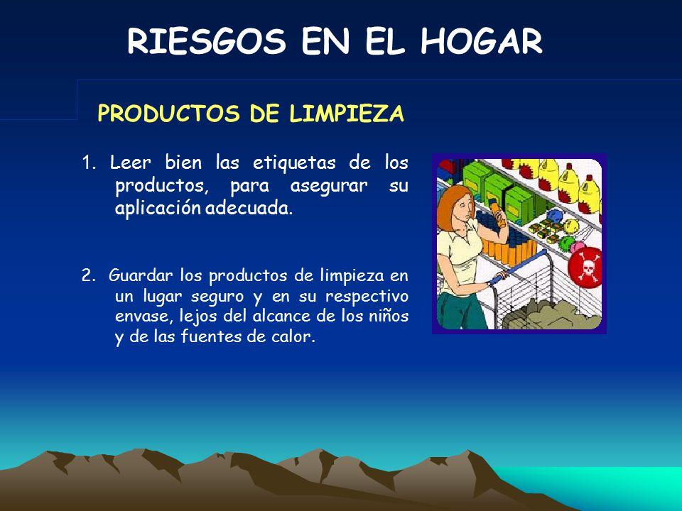 RIESGOS EN EL HOGAR 1.LIMPIEZA 6. INCENDIO 2.BANO7.