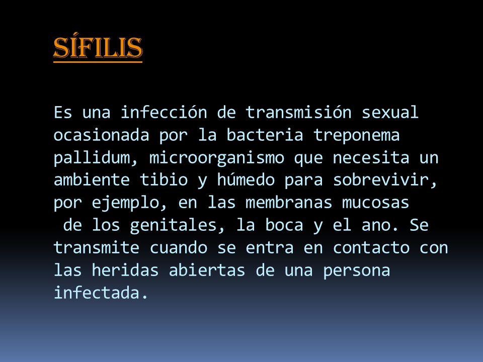 Sífilis Sífilis Es una infección de transmisión sexual ocasionada por la bacteria treponema pallidum, microorganismo que necesita un ambiente tibio y húmedo para sobrevivir, por ejemplo, en las membranas mucosas de los genitales, la boca y el ano.