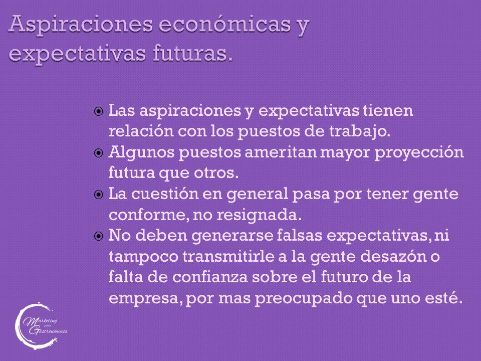Aspiraciones económicas y expectativas futuras.  Las aspiraciones y expectativas tienen relación con los puestos de trabajo.  Algunos puestos amerit