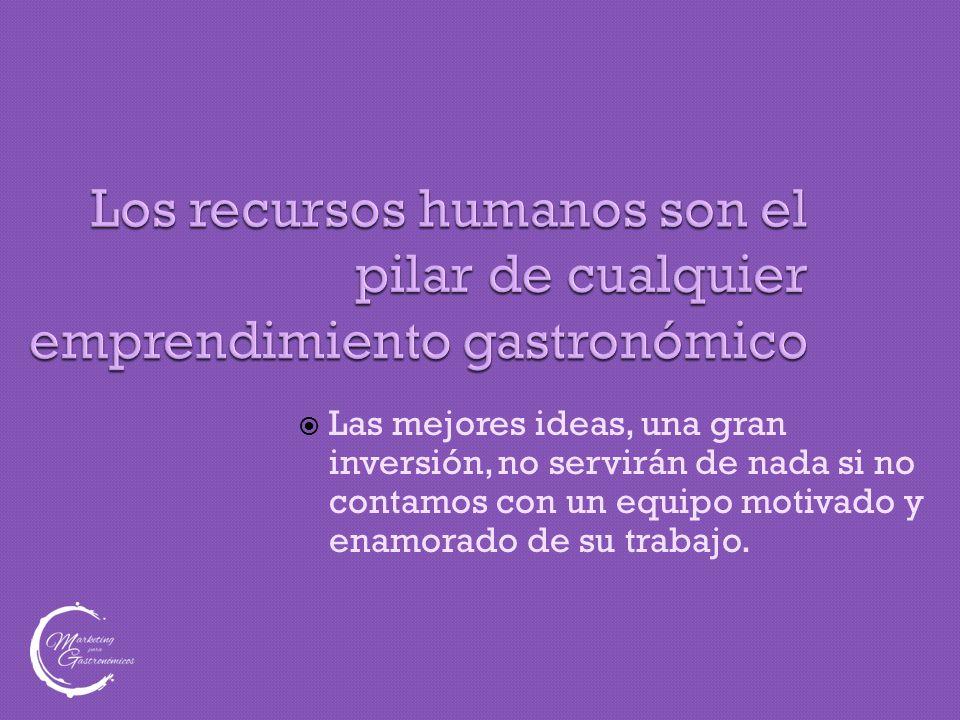 Todas las empresas dependen de sus recursos humanos  Pero la gastronomía es mas dependiente de las personas, por las responsabilidades, la inmediatez del servicio, y las dificultades que presenta cualquier tipo de control.