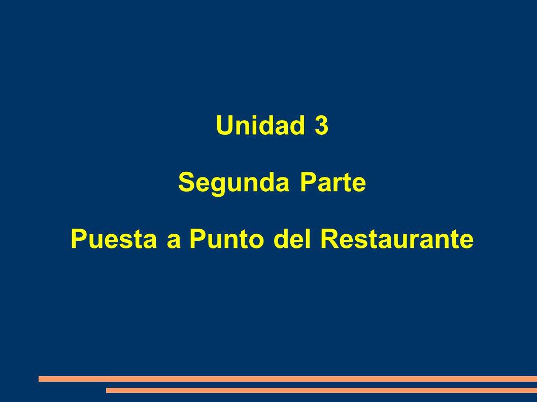 Unidad 3 Segunda Parte Puesta a Punto del Restaurante