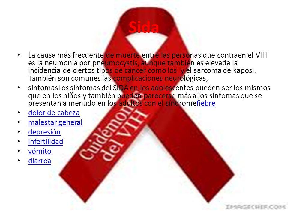 Sida La causa más frecuente de muerte entre las personas que contraen el VIH es la neumonía por pneumocystis, aunque también es elevada la incidencia de ciertos tipos de cáncer como los y el sarcoma de kaposi.