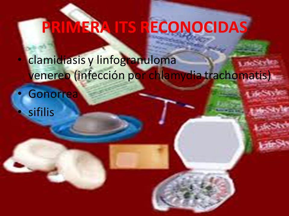 PRIMERA ITS RECONOCIDAS clamidiasis y linfogranuloma venereo (infección por chlamydia trachomatis) Gonorrea sifilis