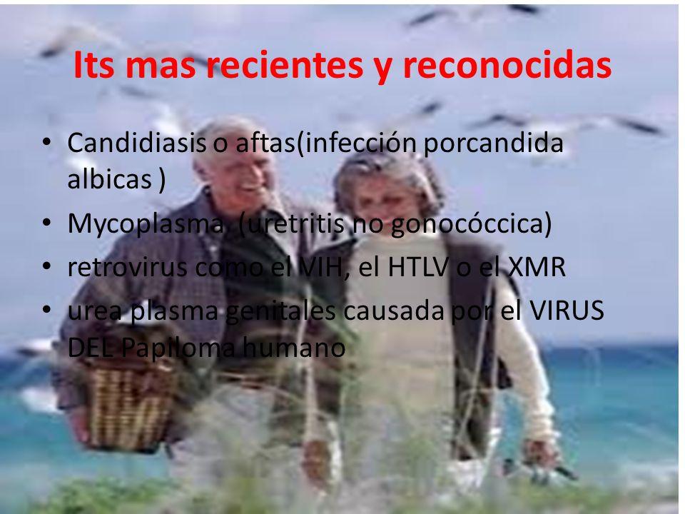Its mas recientes y reconocidas Candidiasis o aftas(infección porcandida albicas ) Mycoplasma (uretritis no gonocóccica) retrovirus como el VIH, el HTLV o el XMR urea plasma genitales causada por el VIRUS DEL Papiloma humano
