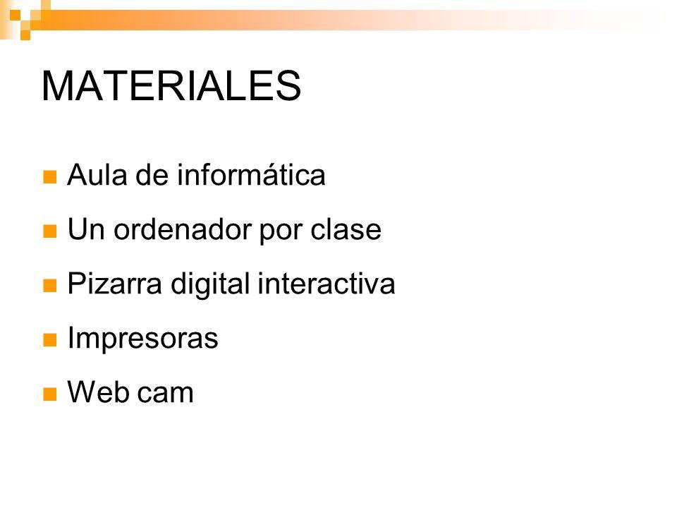 MATERIALES Aula de informática Un ordenador por clase Pizarra digital interactiva Impresoras Web cam