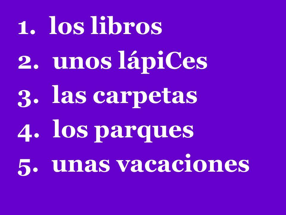 1. los libros 2. unos lápiCes 3. las carpetas 4. los parques 5. unas vacaciones