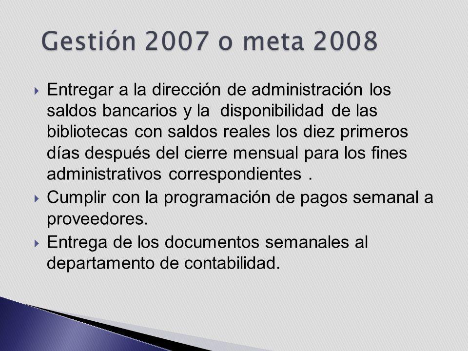  Entregar a la dirección de administración los saldos bancarios y la disponibilidad de las bibliotecas con saldos reales los diez primeros días después del cierre mensual para los fines administrativos correspondientes.