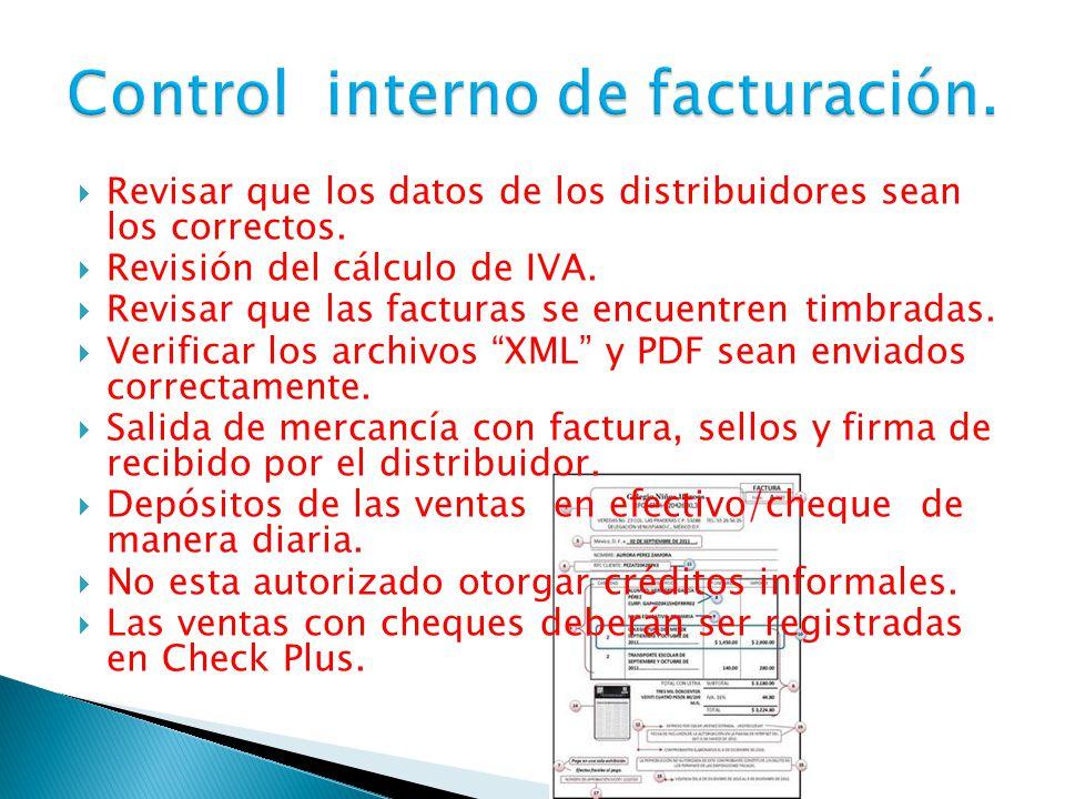  Revisar que los datos de los distribuidores sean los correctos.  Revisión del cálculo de IVA.  Revisar que las facturas se encuentren timbradas. 