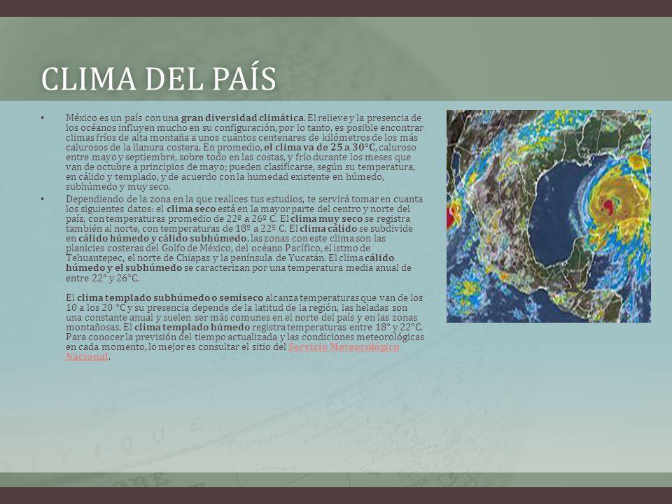 CLIMA DEL PAÍSCLIMA DEL PAÍS México es un país con una gran diversidad climática.