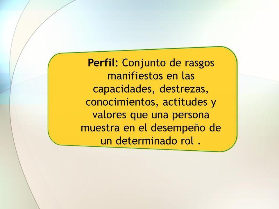 Perfil: Conjunto de rasgos manifiestos en las capacidades, destrezas, conocimientos, actitudes y valores que una persona muestra en el desempeño de un