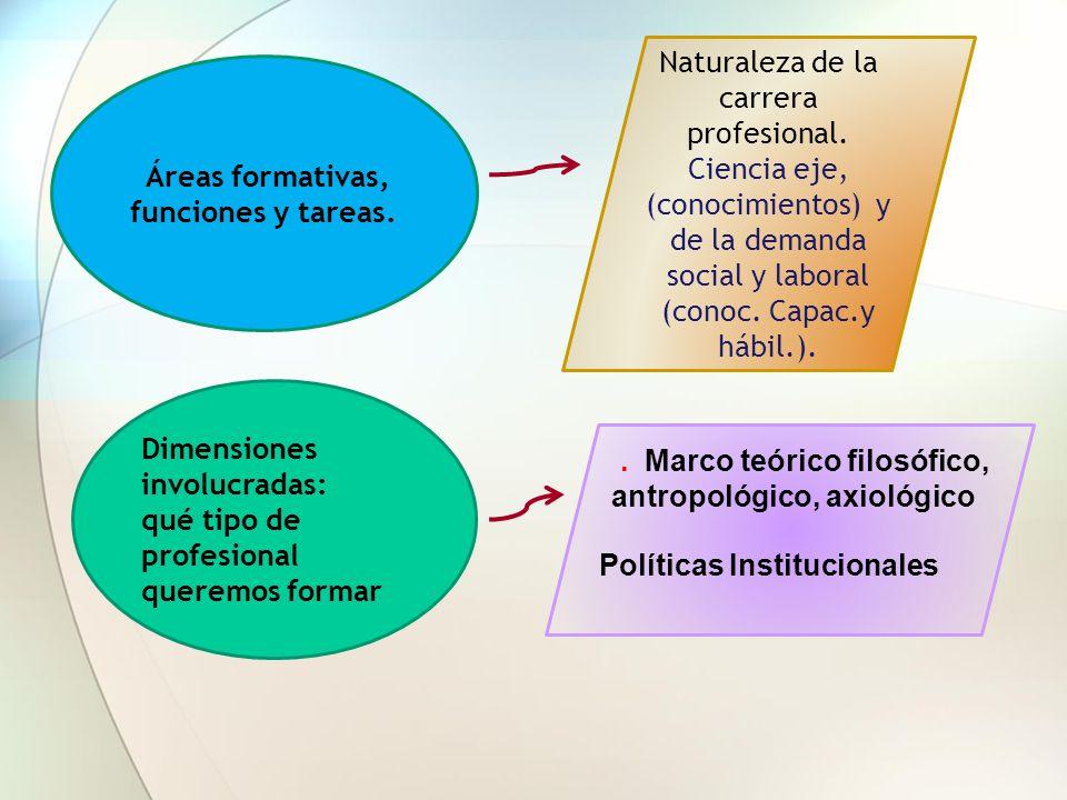 Áreas formativas, funciones y tareas. Dimensiones involucradas: qué tipo de profesional queremos formar Naturaleza de la carrera profesional. Ciencia