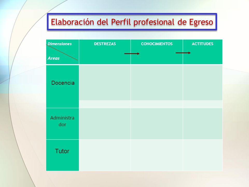 Dimensiones Areas DESTREZASCONOCIMIENTOSACTITUDES Elaboración del Perfil profesional de Egreso Docencia Administra dor Tutor