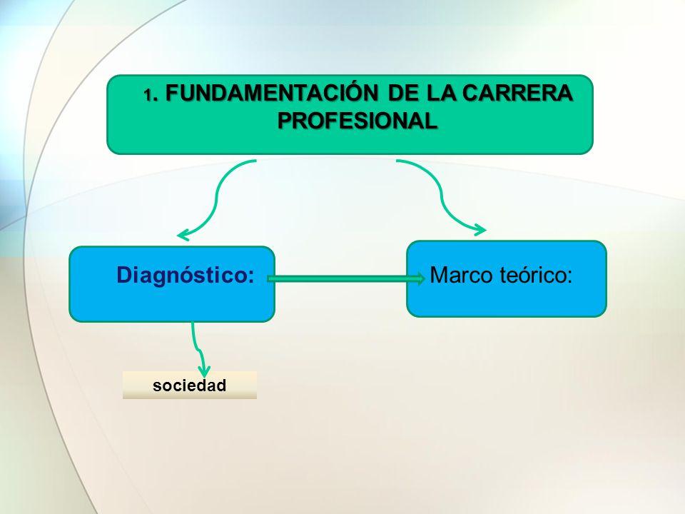 1. FUNDAMENTACIÓN DE LA CARRERA PROFESIONAL Diagnóstico:Marco teórico: sociedad