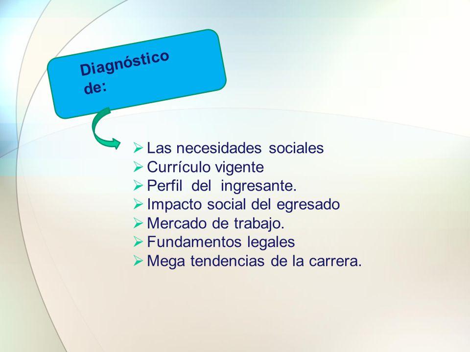 Diagnóstico de:  Las necesidades sociales  Currículo vigente  Perfil del ingresante.  Impacto social del egresado  Mercado de trabajo.  Fundamen