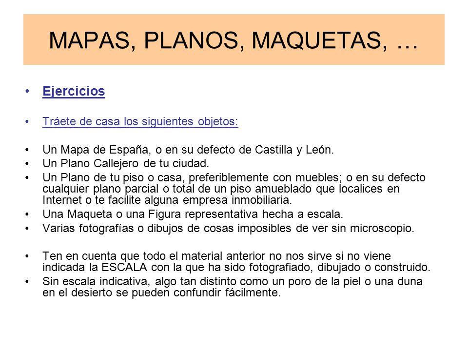 MAPAS, PLANOS, MAQUETAS, … Ejercicios Tráete de casa los siguientes objetos: Un Mapa de España, o en su defecto de Castilla y León.