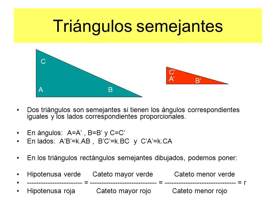 Triángulos semejantes Dos triángulos son semejantes si tienen los ángulos correspondientes iguales y los lados correspondientes proporcionales.