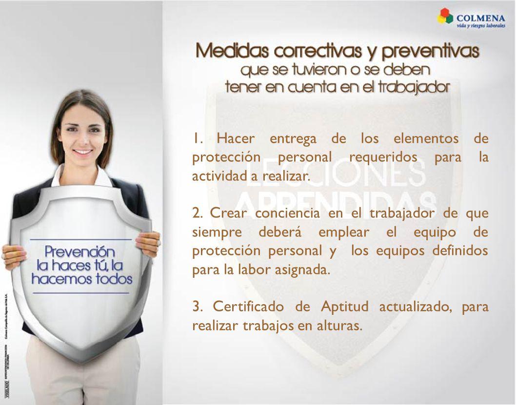 1. Hacer entrega de los elementos de protección personal requeridos para la actividad a realizar.
