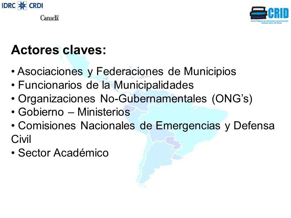 Actores claves: Asociaciones y Federaciones de Municipios Funcionarios de la Municipalidades Organizaciones No-Gubernamentales (ONG's) Gobierno – Ministerios Comisiones Nacionales de Emergencias y Defensa Civil Sector Académico