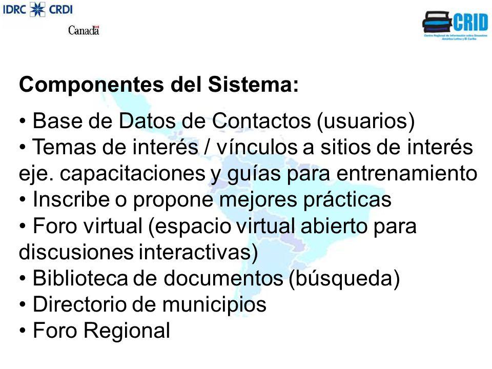 Componentes del Sistema: Base de Datos de Contactos (usuarios) Temas de interés / vínculos a sitios de interés eje.