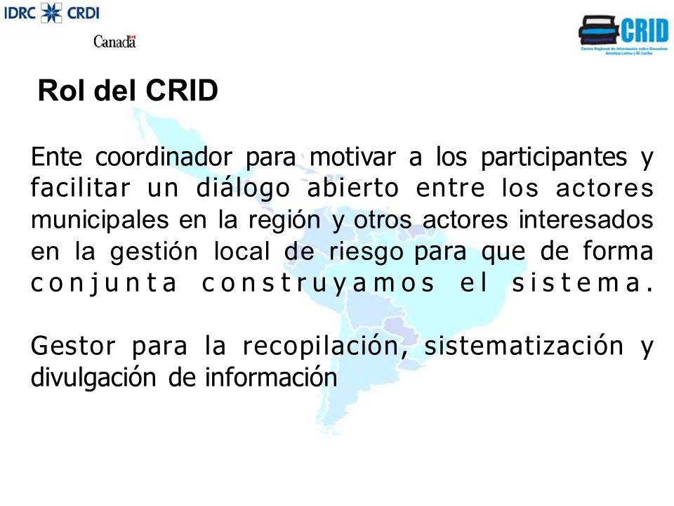 Rol del CRID Ente coordinador para motivar a los participantes y facilitar un diálogo abierto entre los actores municipales en la región y otros actores interesados en la gestión local de riesgo para que de forma conjunta construyamos el sistema.