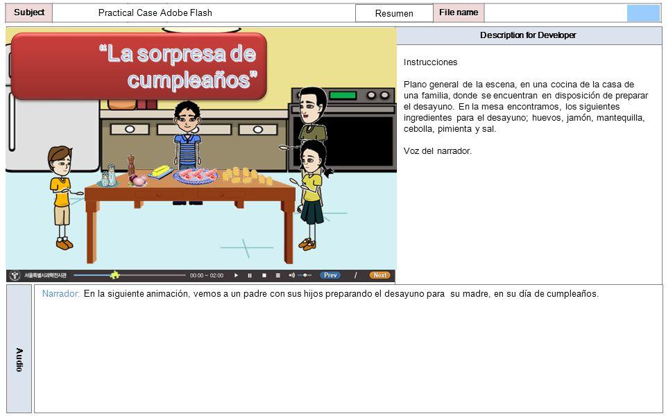 Description for Developer AudioSubjectLO File name Practical Case Adobe Flash Instrucciones Plano general de la escena, en una cocina de la casa de una familia, donde se encuentran en disposición de preparar el desayuno.