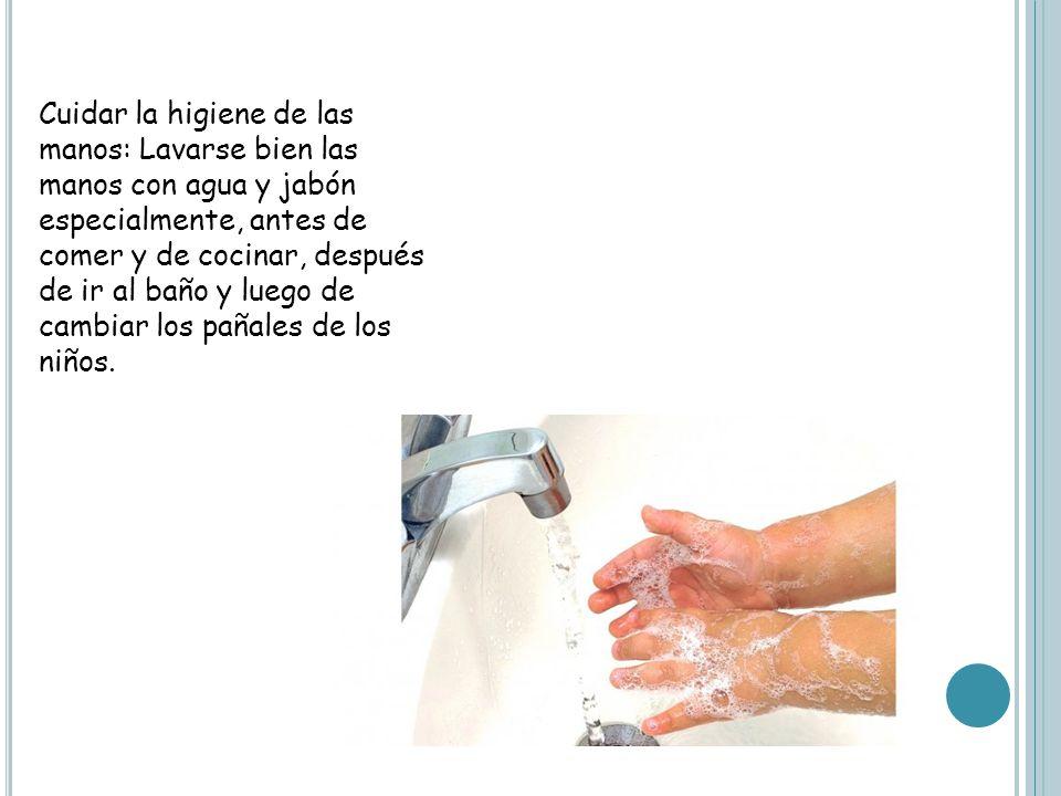 Cuidar la higiene de las manos: Lavarse bien las manos con agua y jabón especialmente, antes de comer y de cocinar, después de ir al baño y luego de cambiar los pañales de los niños.